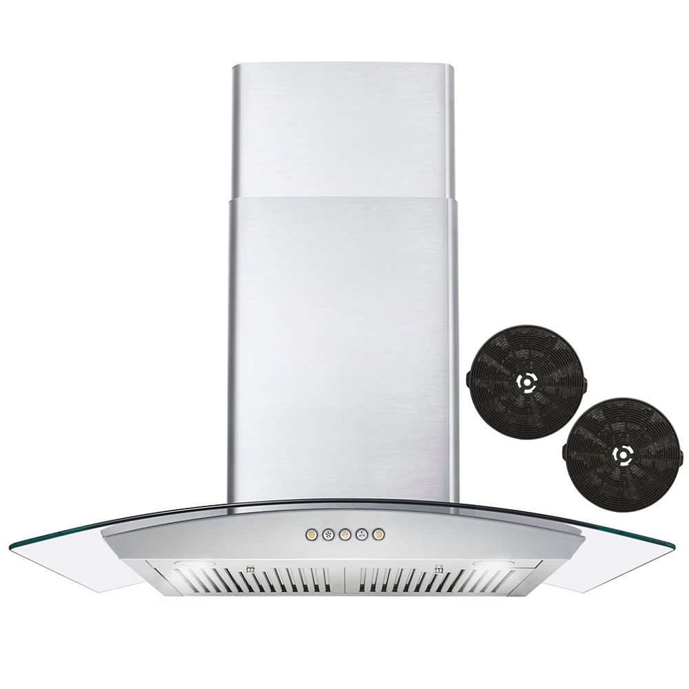 Cosmo 30 in. Ductless Wall Mount Range Hood in Stainless Steel with LED Lighting and Permanent Filters