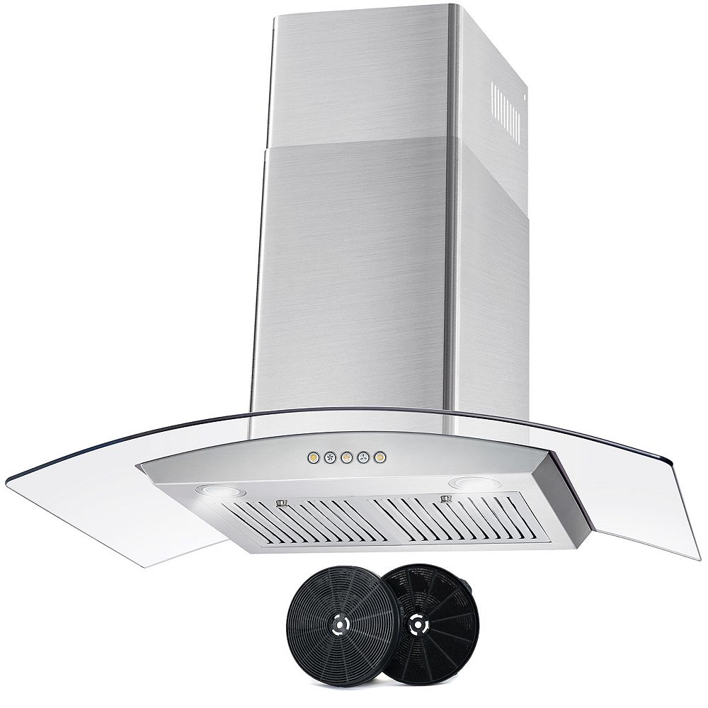 Cosmo 36 in. Ductless Wall Mount Range Hood in Stainless Steel with LED Lighting and Carbon Filter Kit
