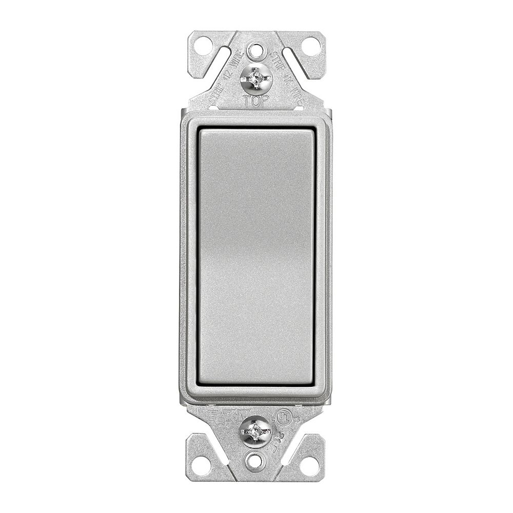 Eaton Decorator single pole switch, Silver Granite