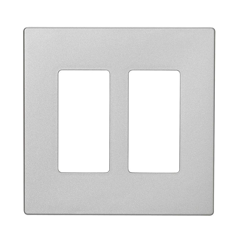 Eaton Decorator wallplate, 2-gang,  Silver Granite