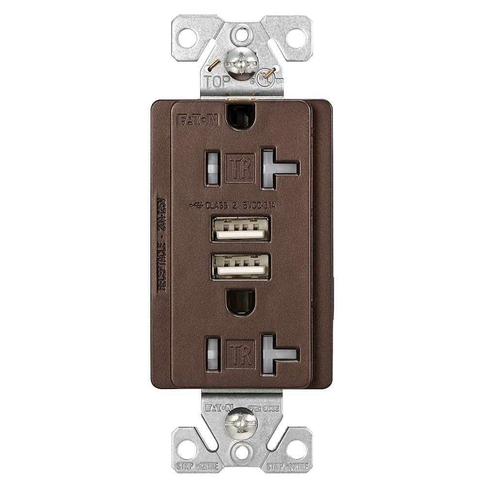 Eaton USB duplex receptacle, 20A, Oil Rubbed Bronze