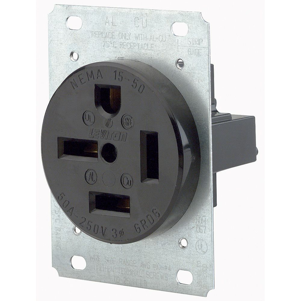 Leviton Flush Mtg Receptacle, Straight Blade, 50A, 250V, 3PY, 3P, 4W, Industr Grade, Grounding - Black