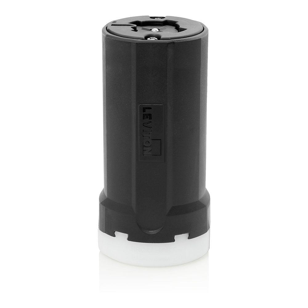 Leviton Locking Connector, 30/20 Amp, 250 Volt DC,/,600 Volt AC, 3 P, 4W, Grounding - Black