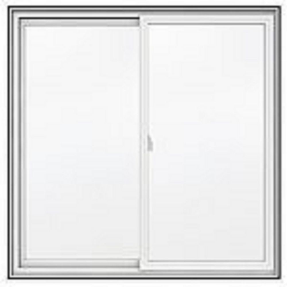 "JELD-WEN Windows & Doors 36""x30"" Frame, 5000 Series White Vinyl Double Sliding Window, Low-E, Argon, 1/2 screen"