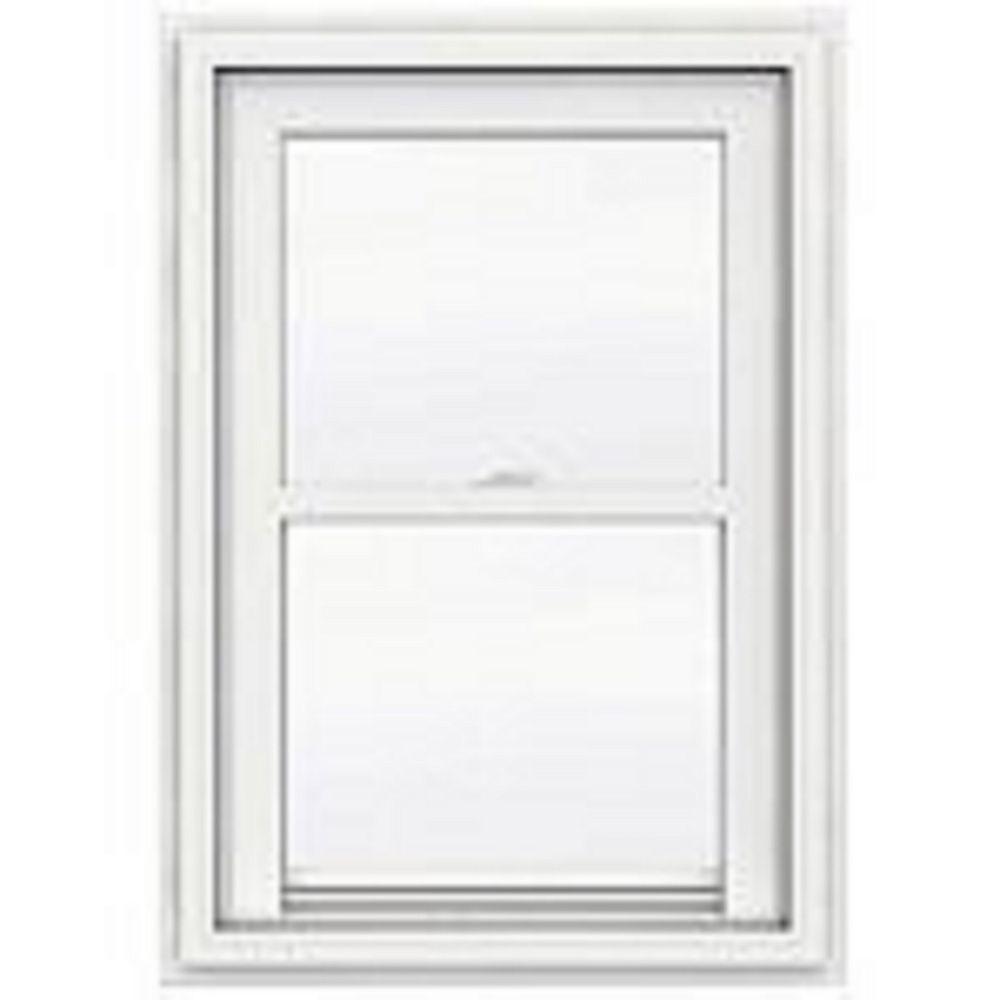 """JELD-WEN Windows & Doors 24""""x36"""" frame, 5000 Series White Vinyl Single Hung Window, Obscure Glass, Low-e, Argon, Screen"""