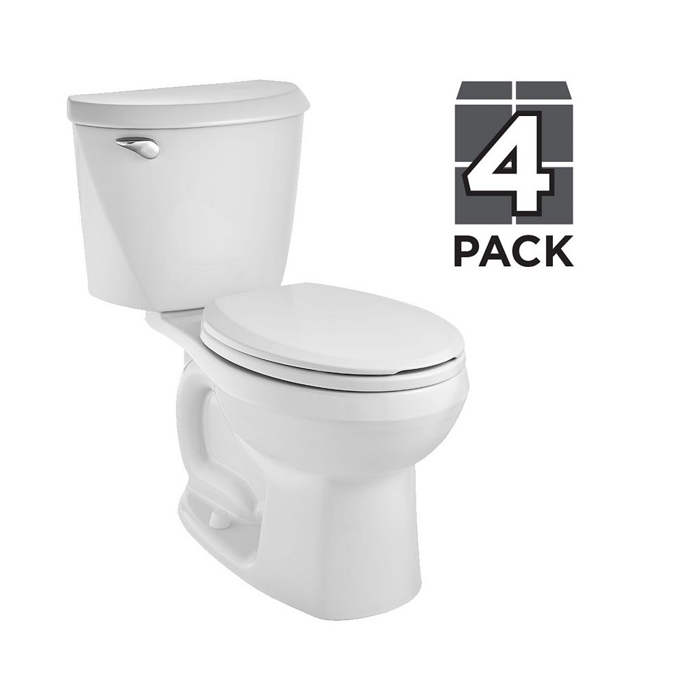 American Standard Reliant 4.8 LPF 1.28 GPF Single Flush Round Front Toilet in White (8 Pack)