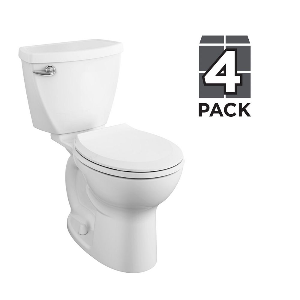 American Standard Cadet 4.8L 1.28 GPF Single Flush Round Front Complete Toilet in White (4 Pack)