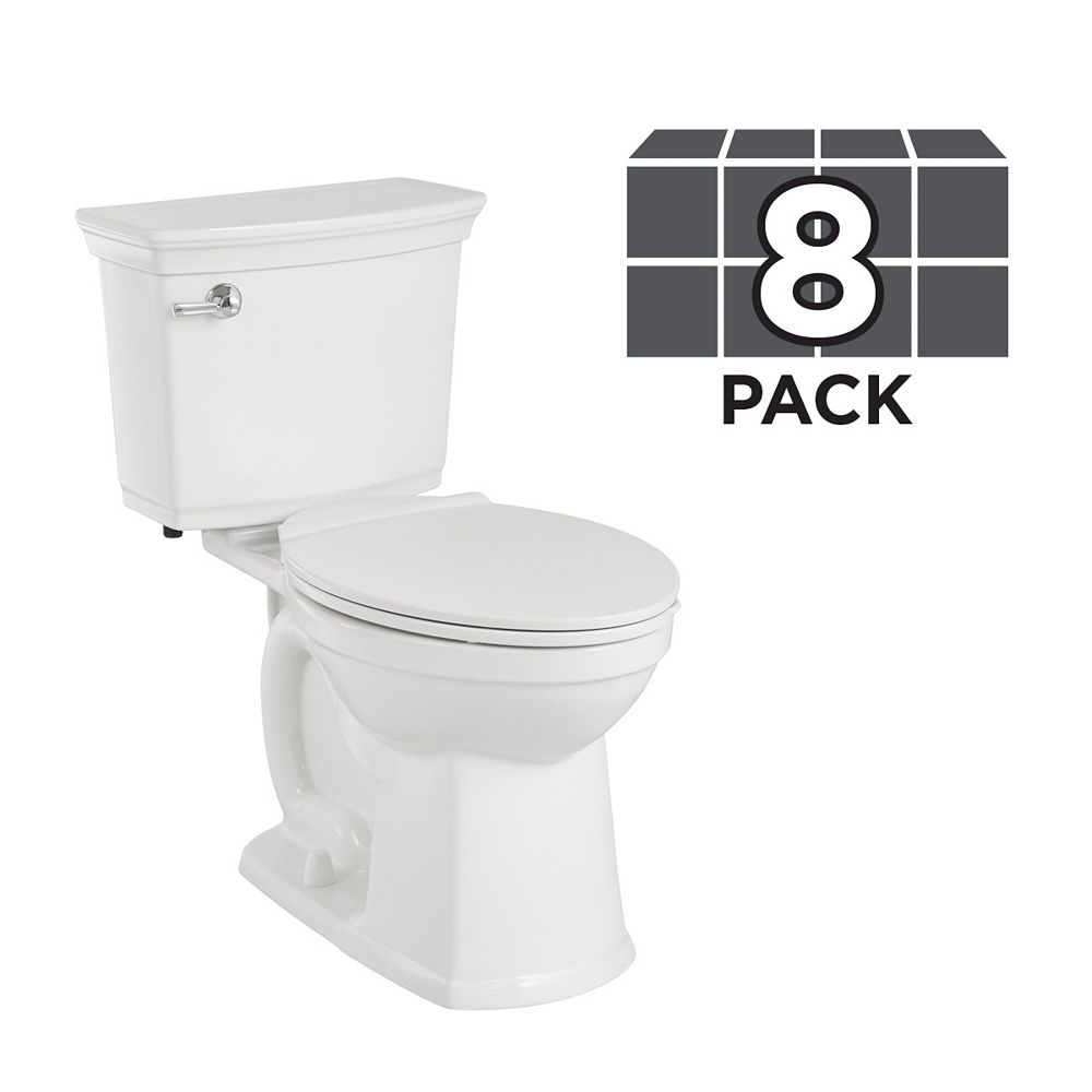 American Standard Vormax 1.28 GPF Single Flush Plus Right Height Elongated Bowl Toilet (8 Pack)