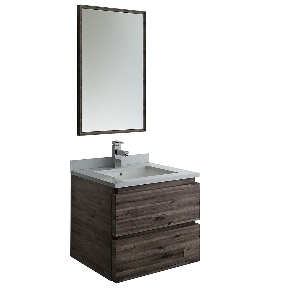 Fresca Formosa 24 inch Wall Hung Vanity in Acacia With Quartz Stone Top in White with Faucet and Mirror