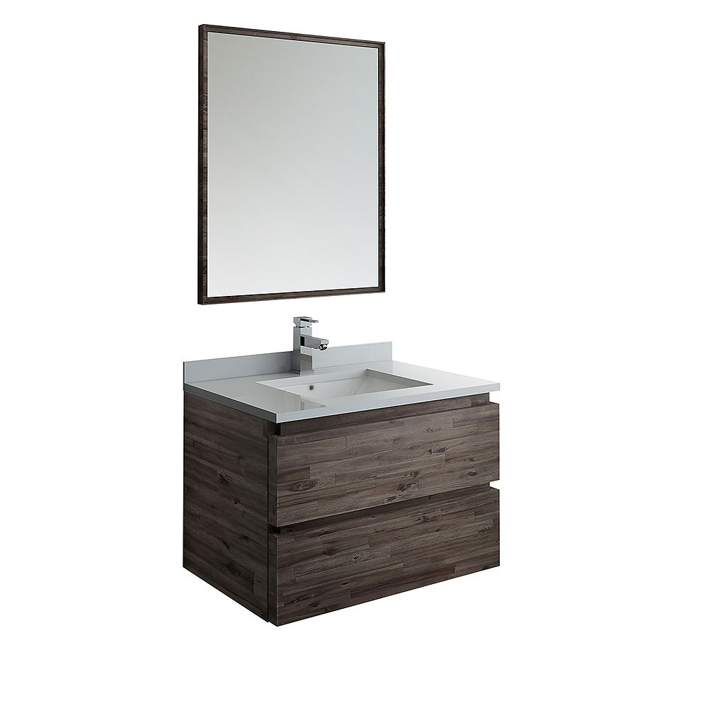 Fresca Formosa 30 inch Wall Hung Vanity in Acacia With Quartz Stone Top in White with Faucet and Mirror