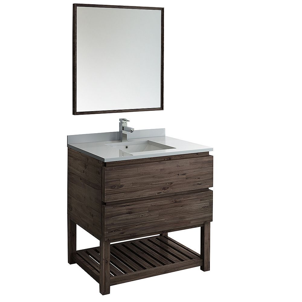Fresca Formosa 36 inch Freestanding Open Bottom Vanity in Acacia, Quartz Stone Top in White, Faucet, Mirror