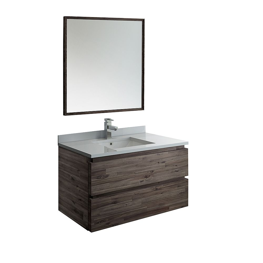 Fresca Formosa 36 inch Wall Hung Vanity in Acacia With Quartz Stone Top in White with Faucet and Mirror
