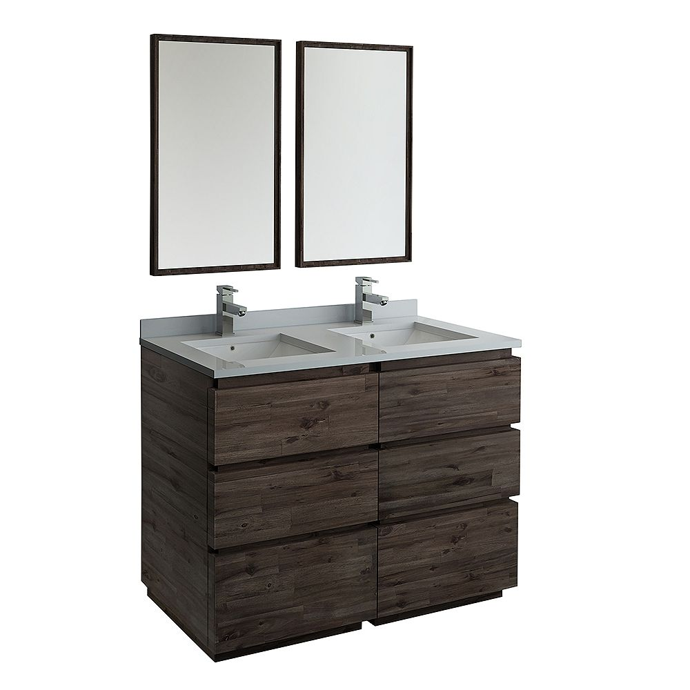 Fresca Formosa 48 in. Freestanding Double Vanity in Acacia With Quartz Stone Top in White,Faucet and Mirror