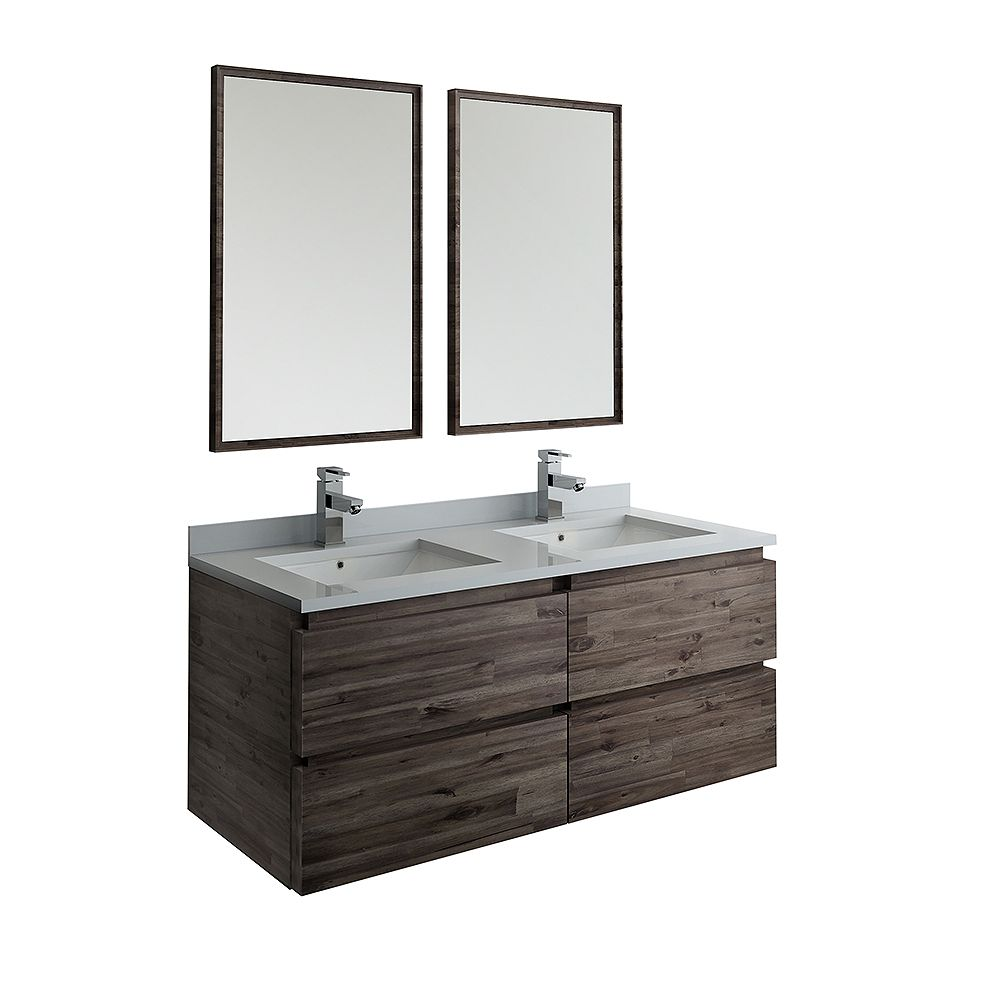Fresca Formosa 48 inch Wall Hung Double Vanity in Acacia With Quartz Stone Top in White,Faucet and Mirror