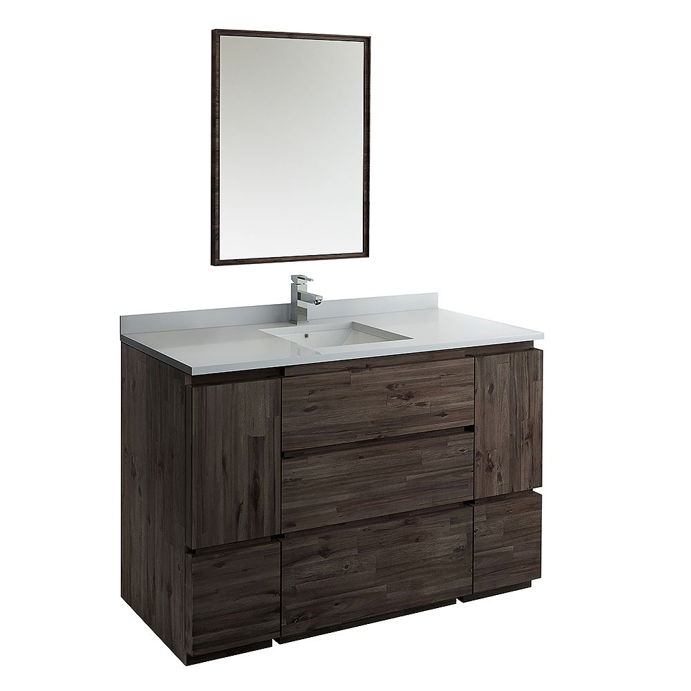 Fresca Formosa 54 inch Freestanding Vanity in Acacia With Quartz Stone Top in White with Faucet and Mirror