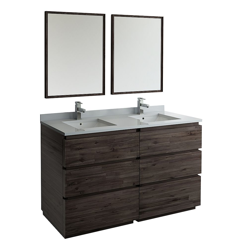 Fresca Formosa 60 in. Freestanding Double Vanity in Acacia With Quartz Stone Top in White,Faucet and Mirror
