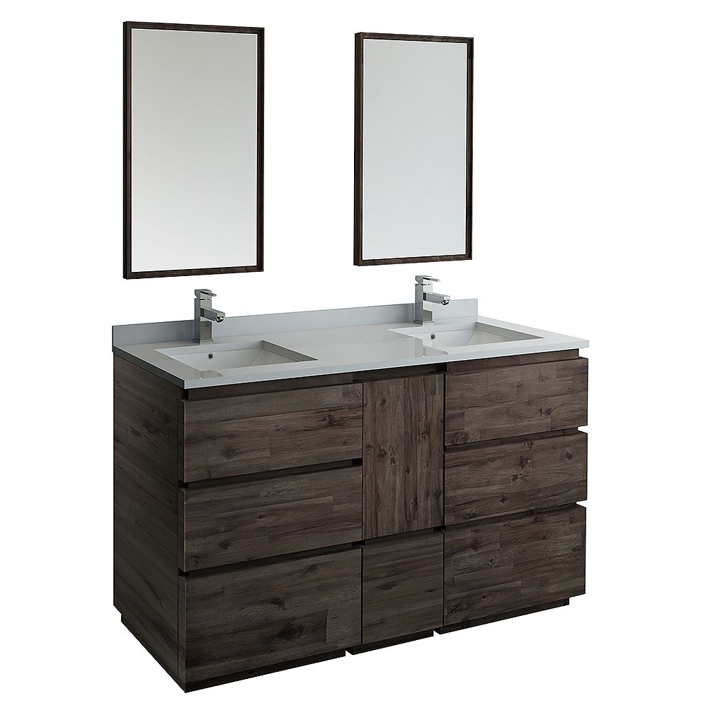 Fresca Formosa 60 inch Freestanding Double Vanity in Acacia With Top in White, Faucet and Mirror
