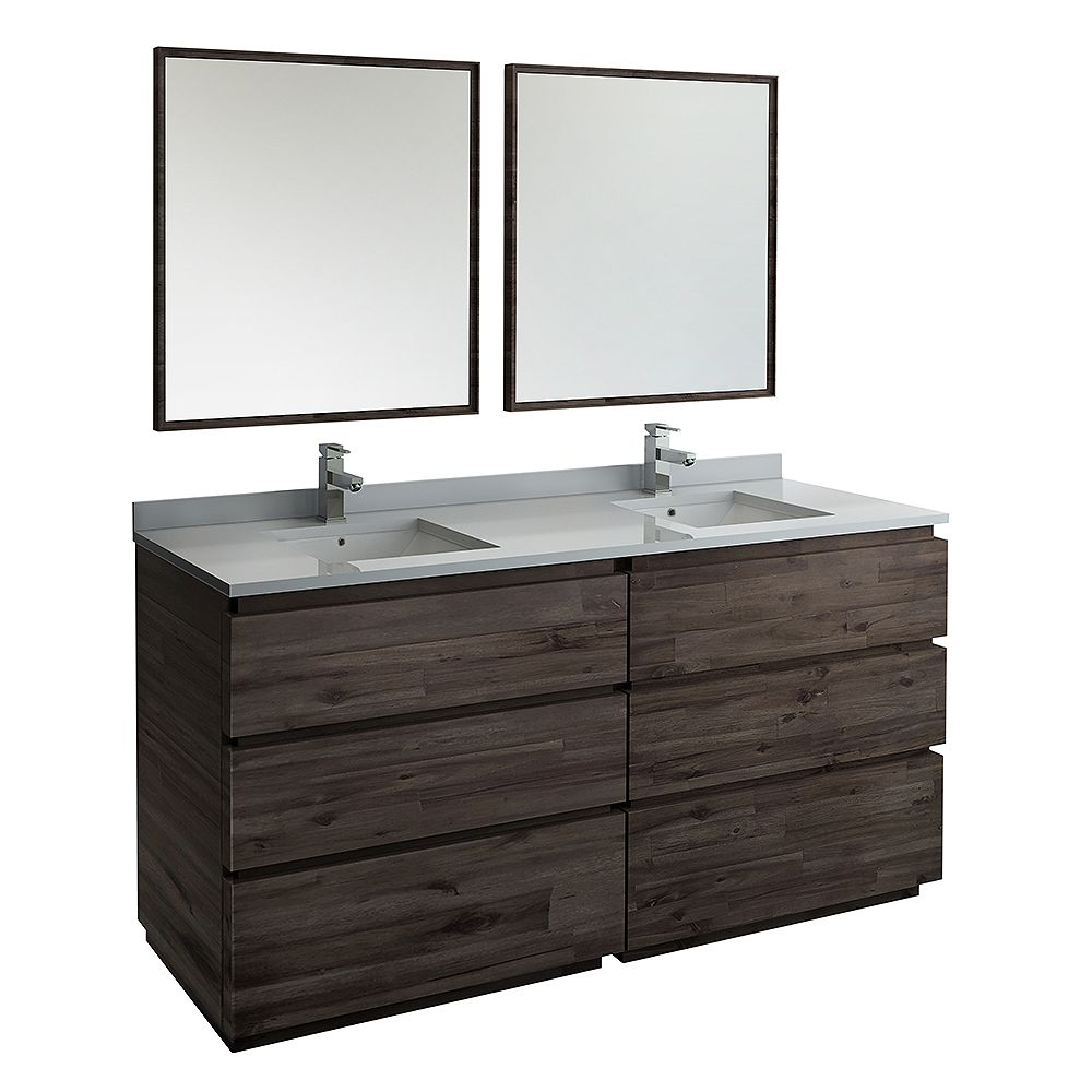 Fresca Formosa 72 in. Freestanding Double Vanity in Acacia With Quartz Stone Top in White,Faucet and Mirror