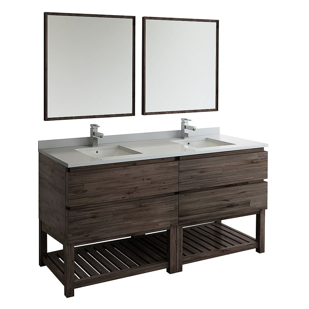 Fresca Formosa 72 in. Freestanding Open Bottom Double Vanity in Acacia,Quartz Stone Top in White and Mirror