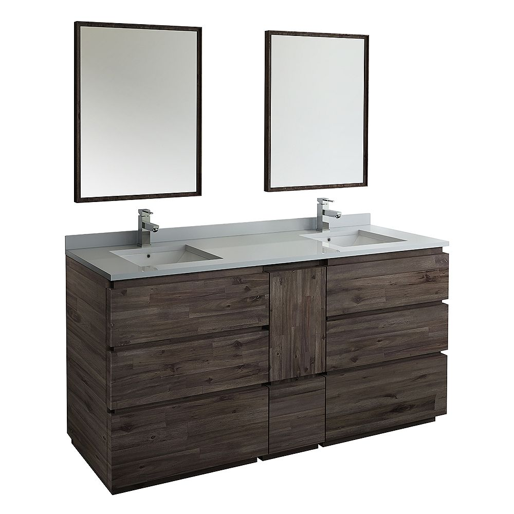 Fresca Formosa 72 inch Freestanding Double Vanity in Acacia With Top in White, Faucet and Mirror