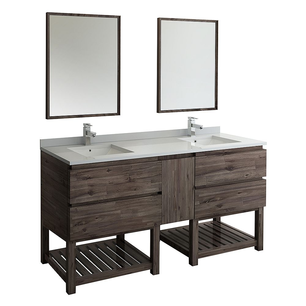 Fresca Formosa 72 inch Freestanding Open Bottom Double Vanity in Acacia with Top in White faucet and Mirror