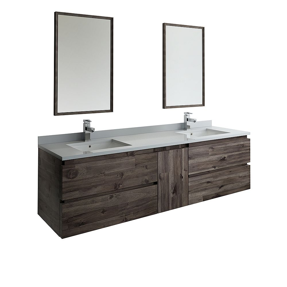 Fresca Formosa 72 inch Wall Hung Double Vanity in Acacia With Top in White, Faucet and Mirror