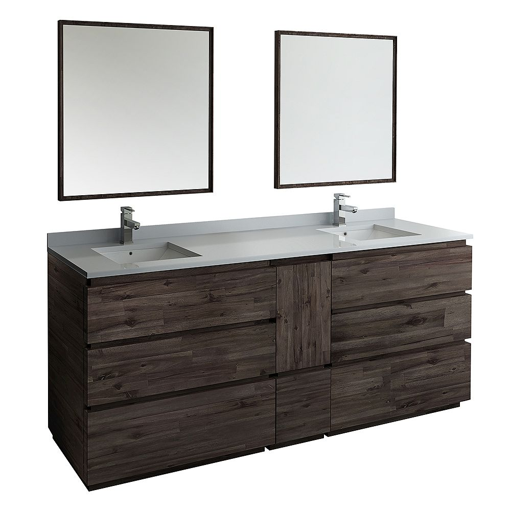 Fresca Formosa 84 in. Freestanding Double Vanity in Acacia With Quartz Stone Top in White,Faucet and Mirror