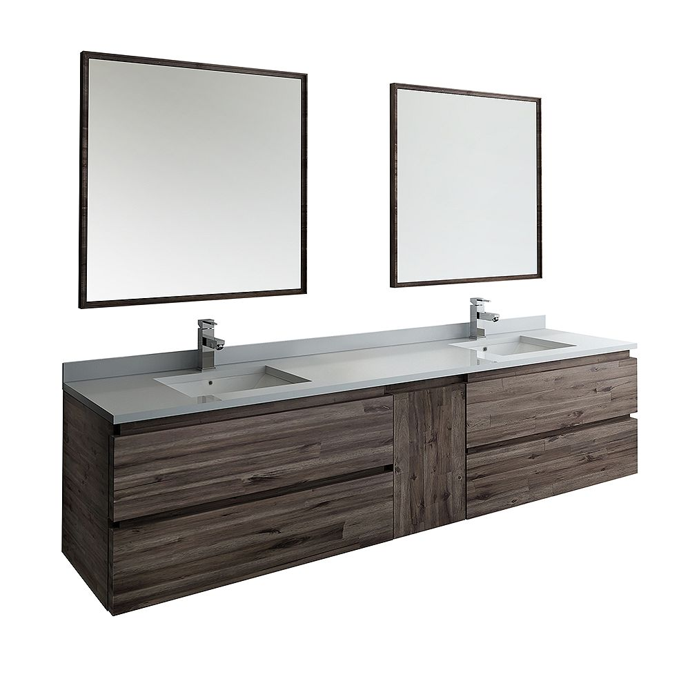 Fresca Formosa 84 inch Wall Hung Double Vanity in Acacia With Quartz Stone Top in White,Faucet and Mirror