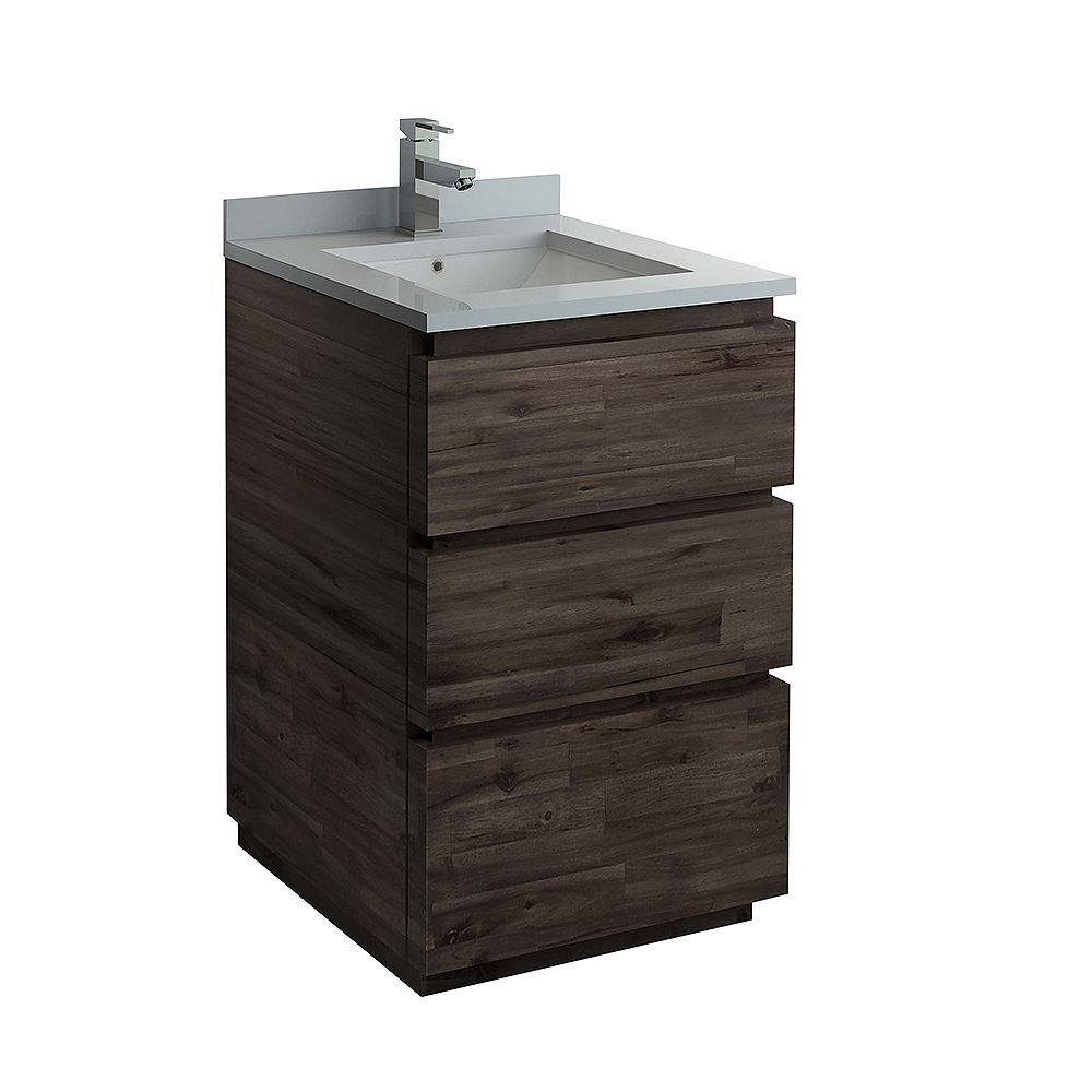 Fresca Formosa 24 inch Freestanding Bathroom Vanity in Acacia With Quartz Stone Top in White