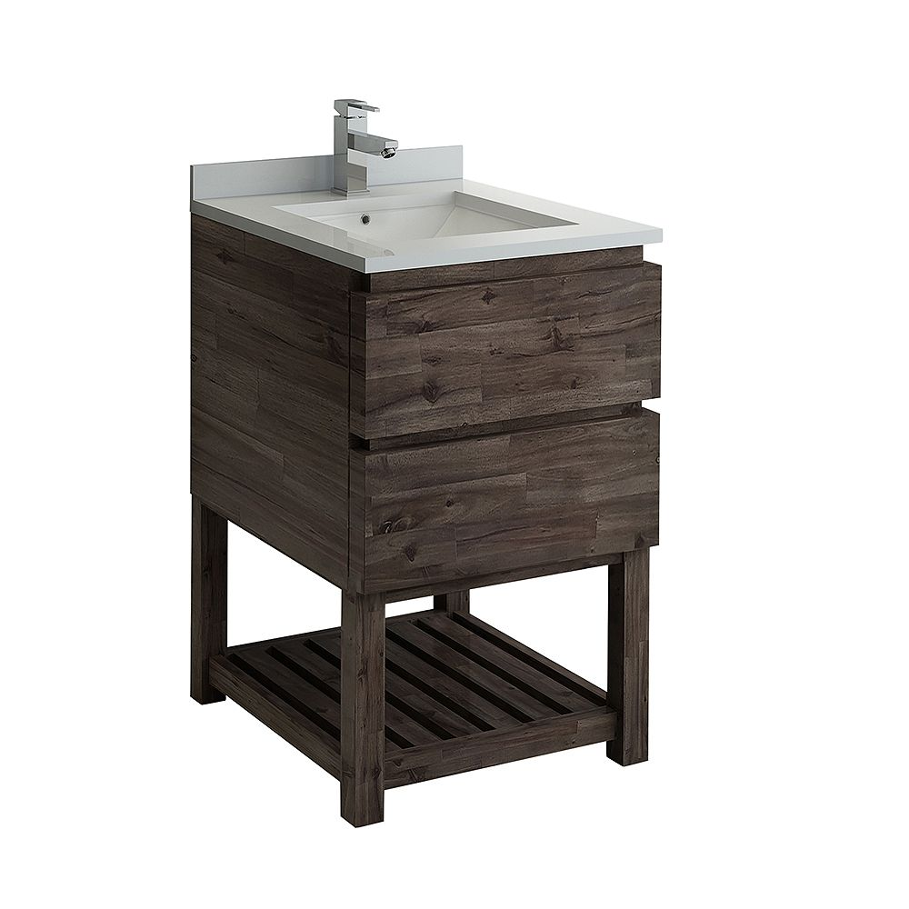 Fresca Formosa 24 inch Freestanding Open Bottom Bathroom Vanity in Acacia, Quartz Stone Top in White