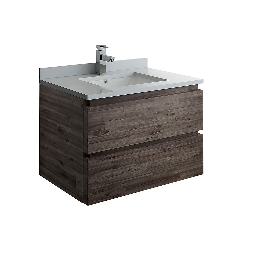 Fresca Formosa 30 inch Wall Hung Bathroom Vanity in Acacia With Quartz Stone Top in White