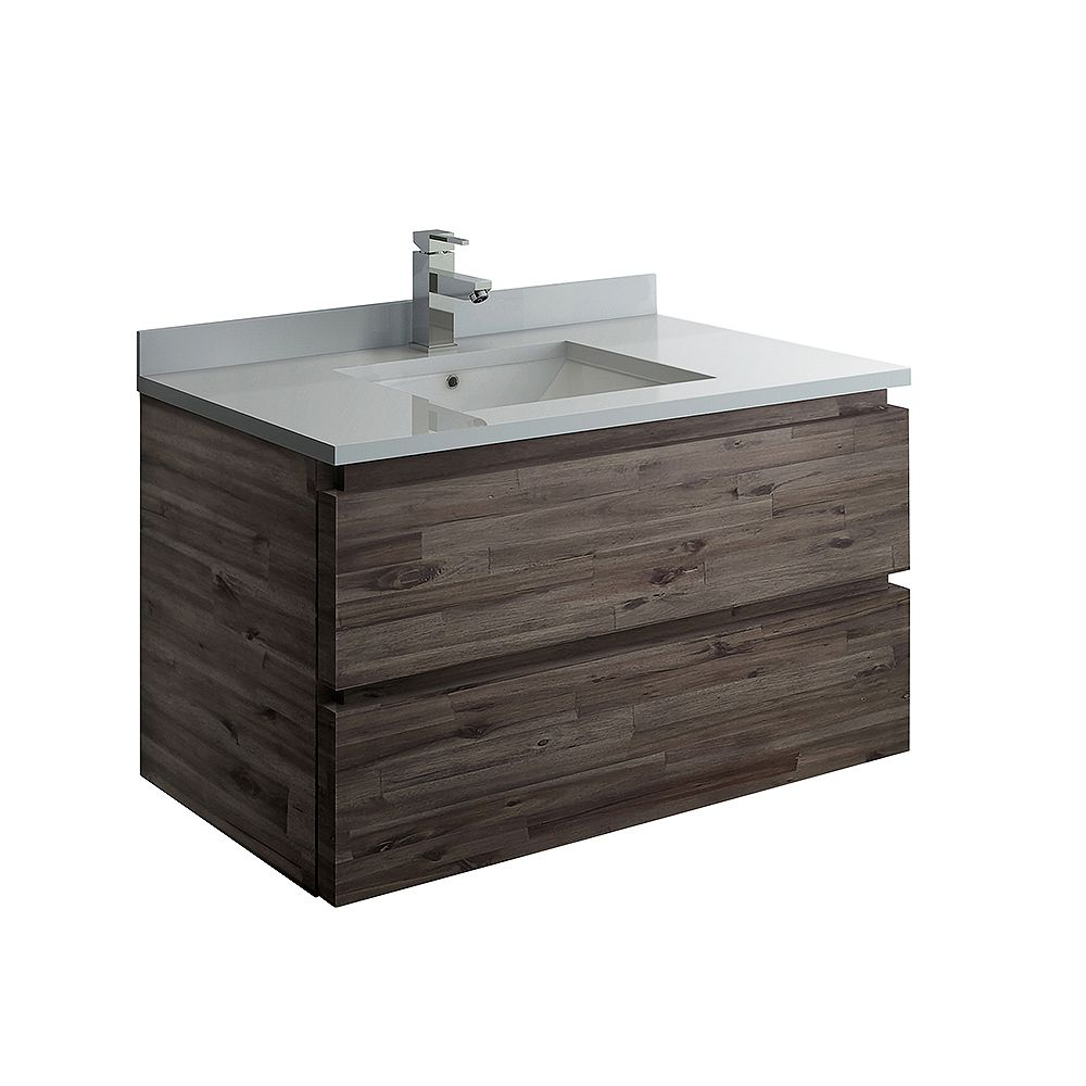 Fresca Formosa 36 inch Wall Hung Bathroom Vanity in Acacia With Quartz Stone Top in White