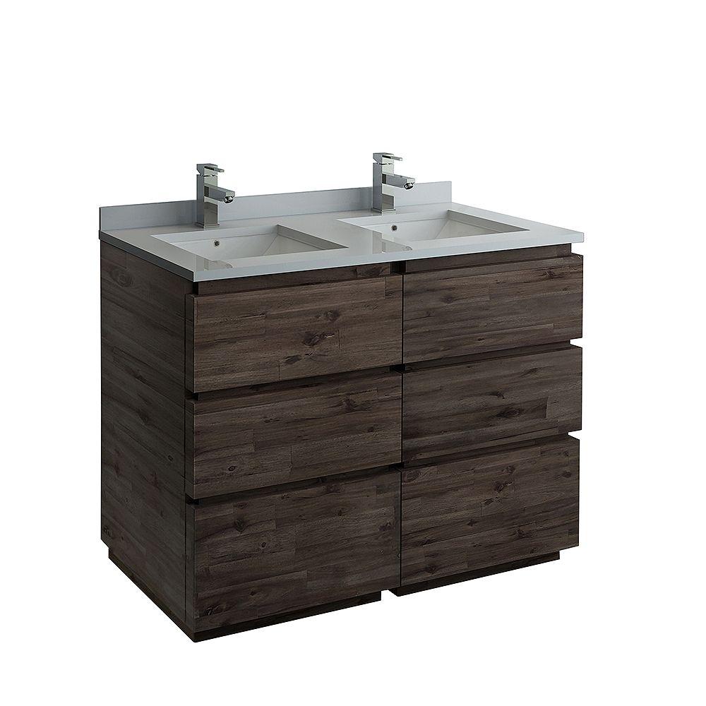 Fresca Formosa 48 inch Freestanding Double Bathroom Vanity in Acacia With Quartz Stone Top in White
