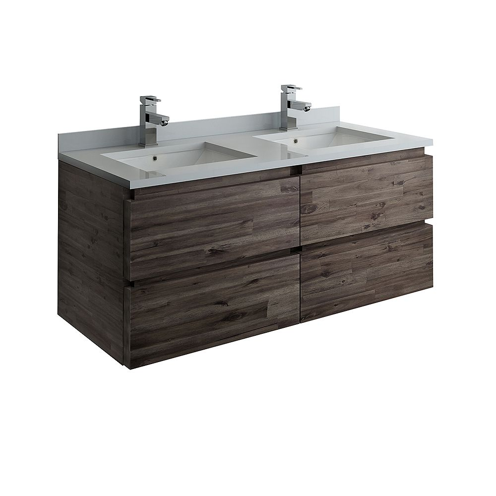 Fresca Formosa 48 inch Wall Hung Double Bathroom Vanity in Acacia With Quartz Stone Top in White