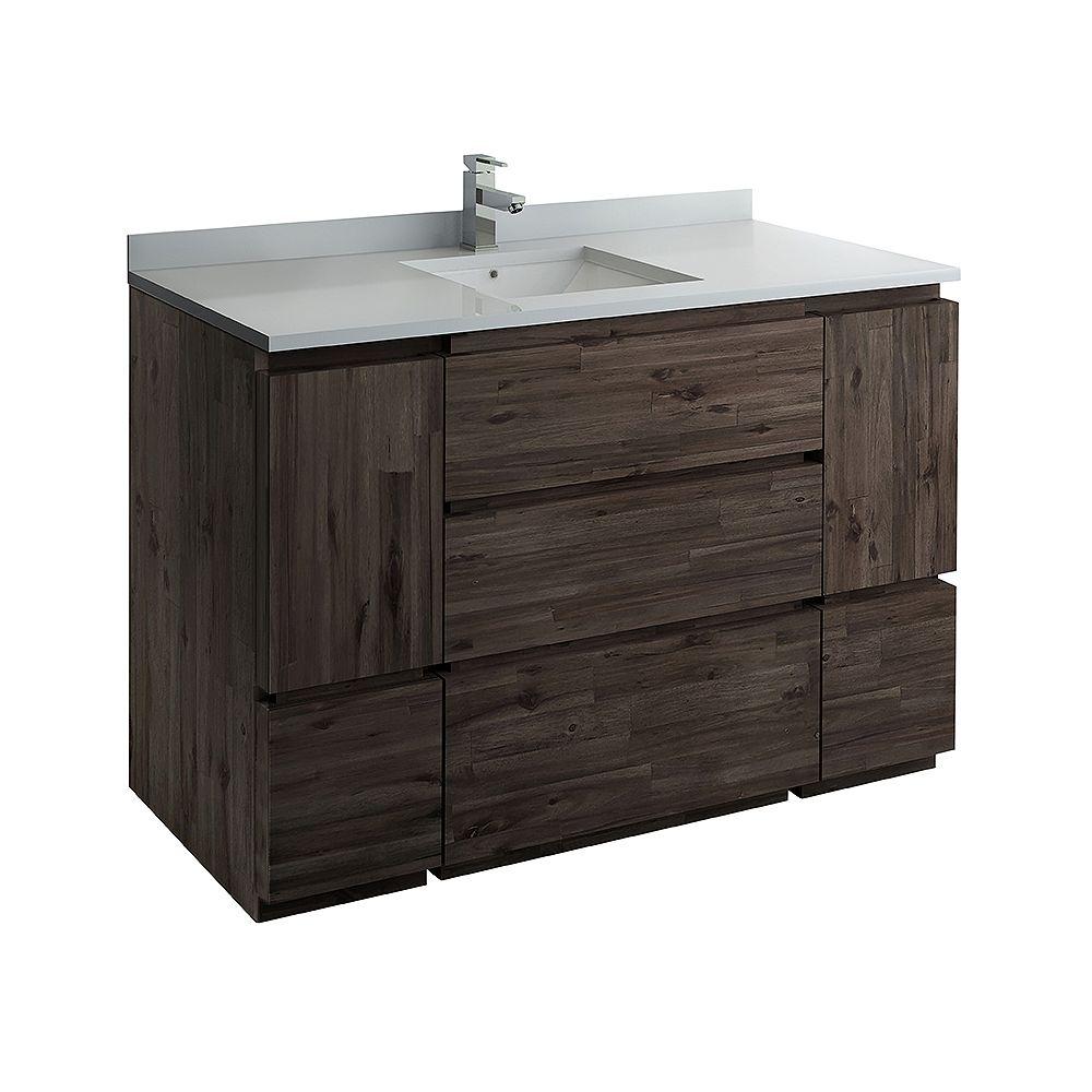 Fresca Formosa 54 inch Freestanding Bathroom Vanity in Acacia With Quartz Stone Top in White