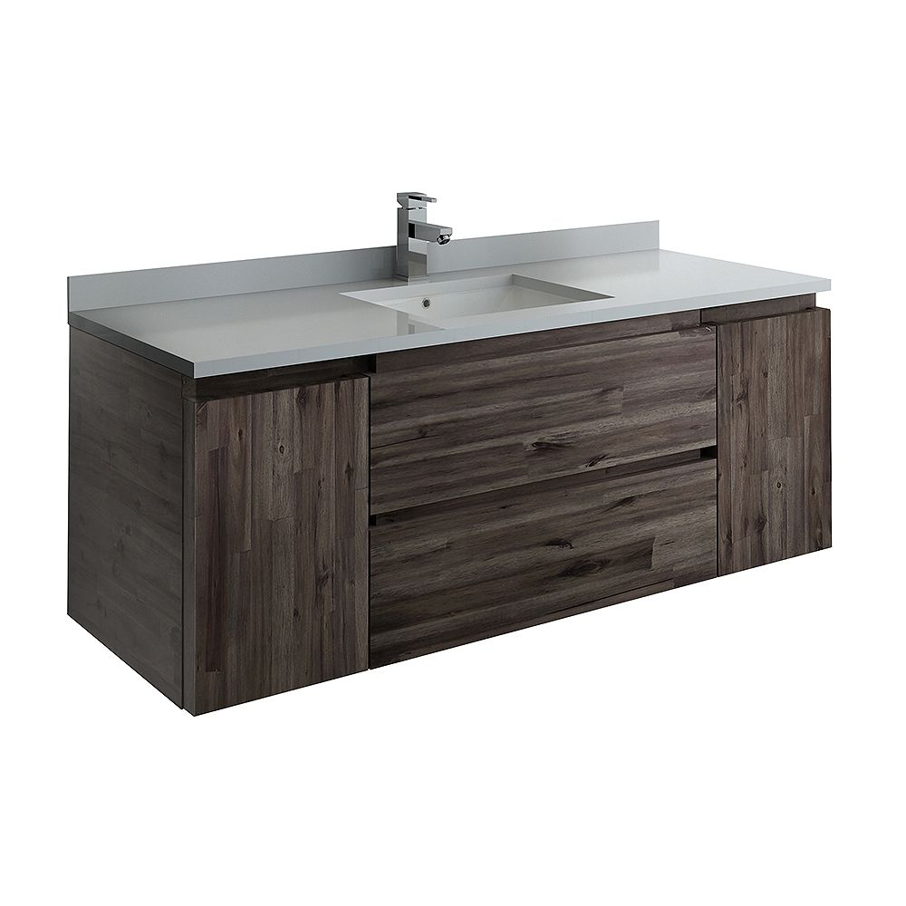 Fresca Formosa 54 inch Wall Hung Bathroom Vanity in Acacia With Quartz Stone Top in White