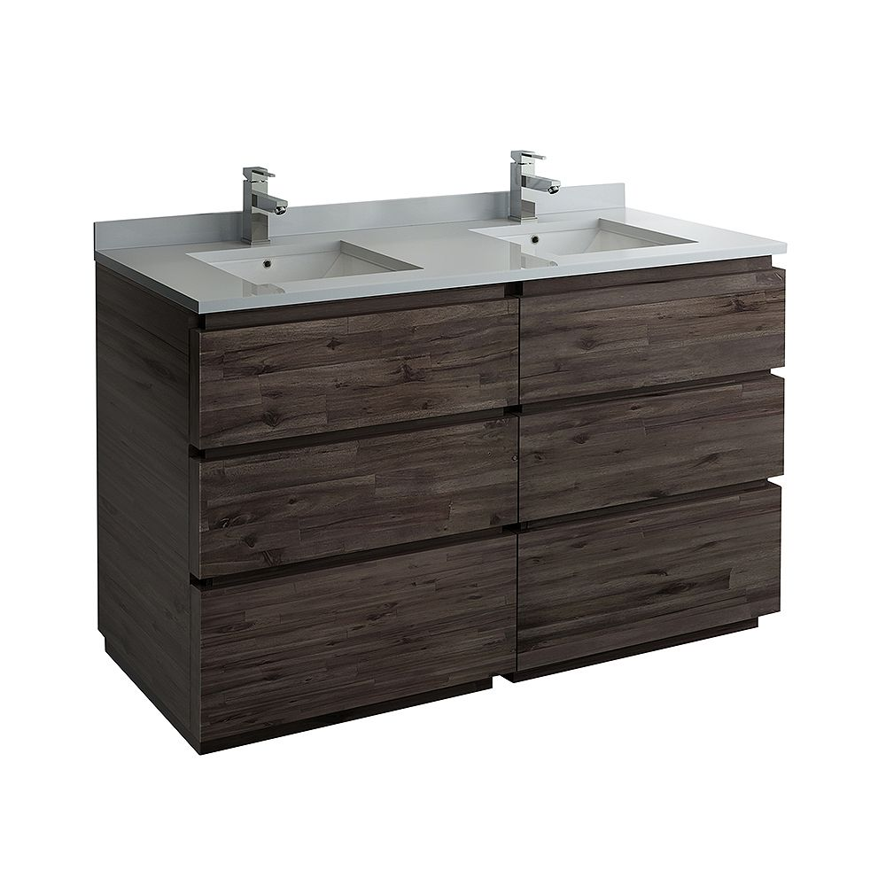 Fresca Formosa 60 inch Freestanding Double Vanity in Acacia With Top in White
