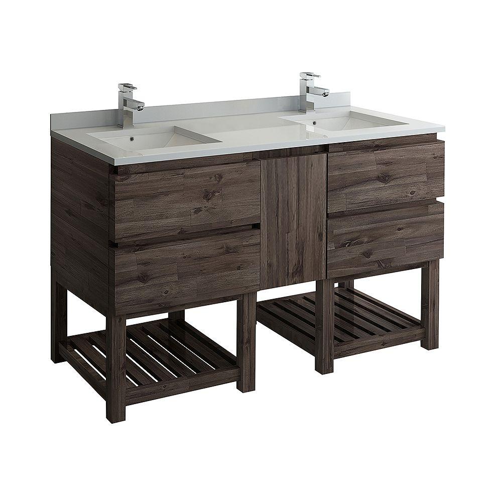 Fresca Formosa 60 inch Freestanding Open Bottom Double Bathroom Vanity in Acacia, Quartz Stone Top in White