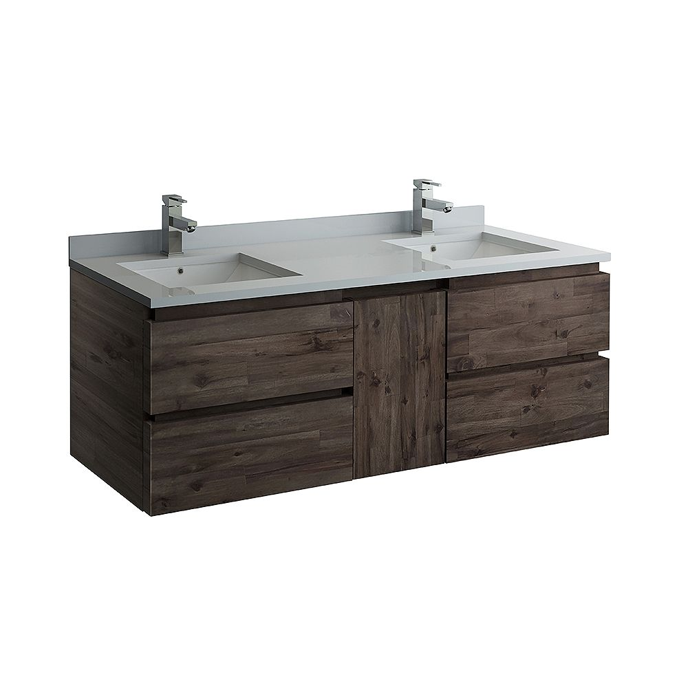 Fresca Formosa 60 inch Wall Hung Double Bathroom Vanity in Acacia With Quartz Stone Top in White