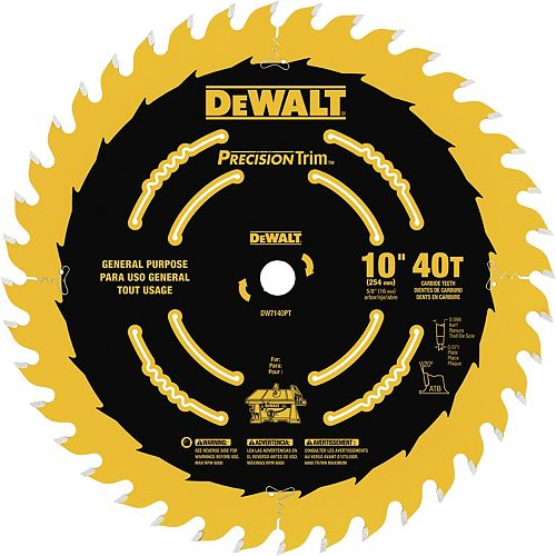 10-inch 40 Tooth ATB Ripping and Crosscutting Saw Blade and Tough Coat Finish (DW7140PT)