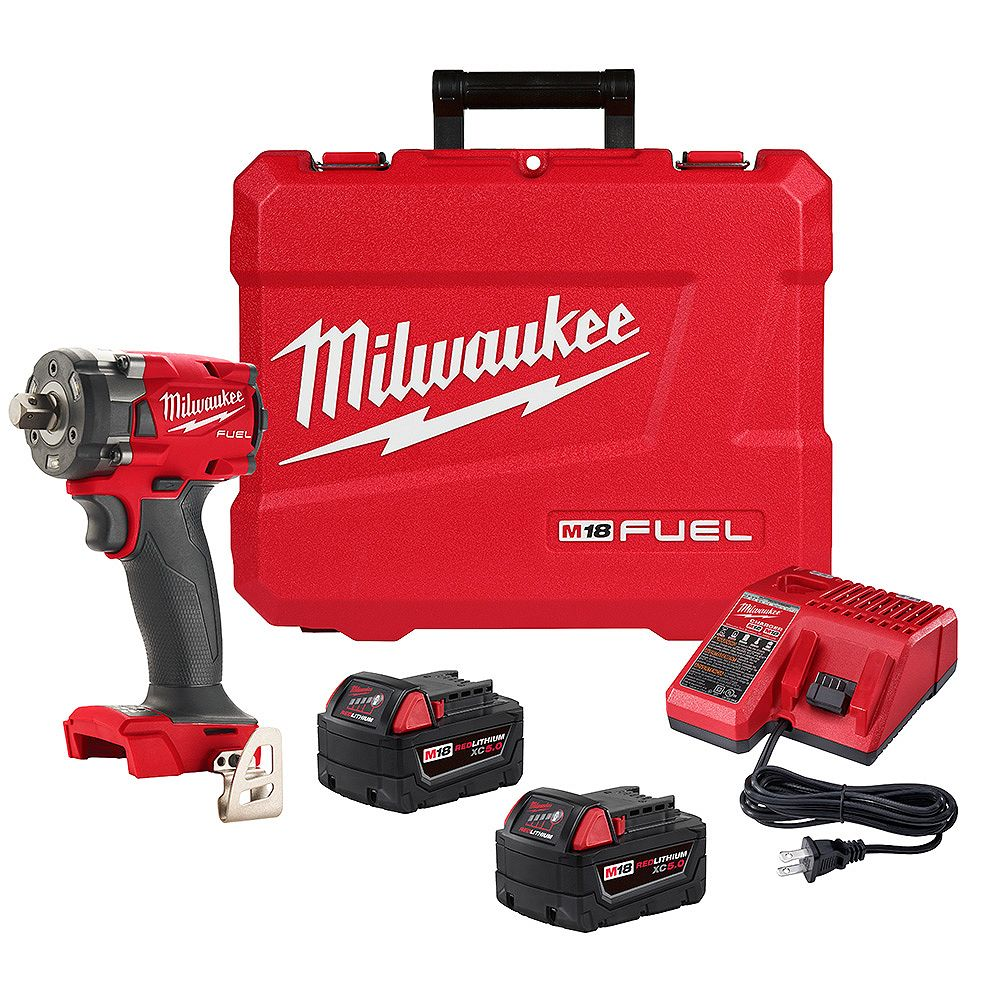 Milwaukee Tool M18 FUEL 18V Lithium-Ion Brushless Cordless 1/2 in Compact Impact Wrench w/ Pin Detent XC5.0 Kit