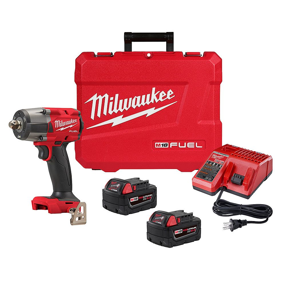 Milwaukee Tool M18 FUEL 18V Brushless Cordless Mid Torque 1/2 -inch Impact Wrench with Pin Detent XC 5.0 Kit