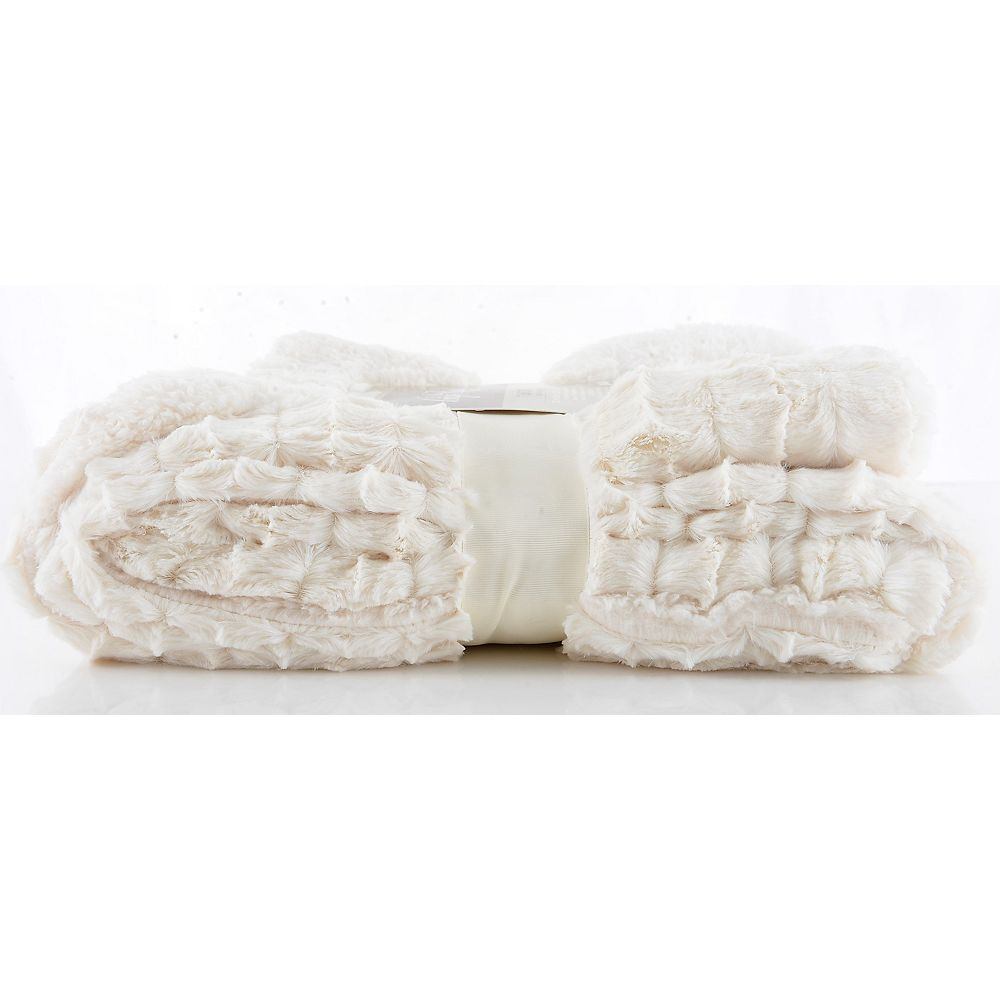 "Long Rich Embossed Faux Fur Reverse with Soft Sherpa Throw/Blanket, 50"" x 60"""