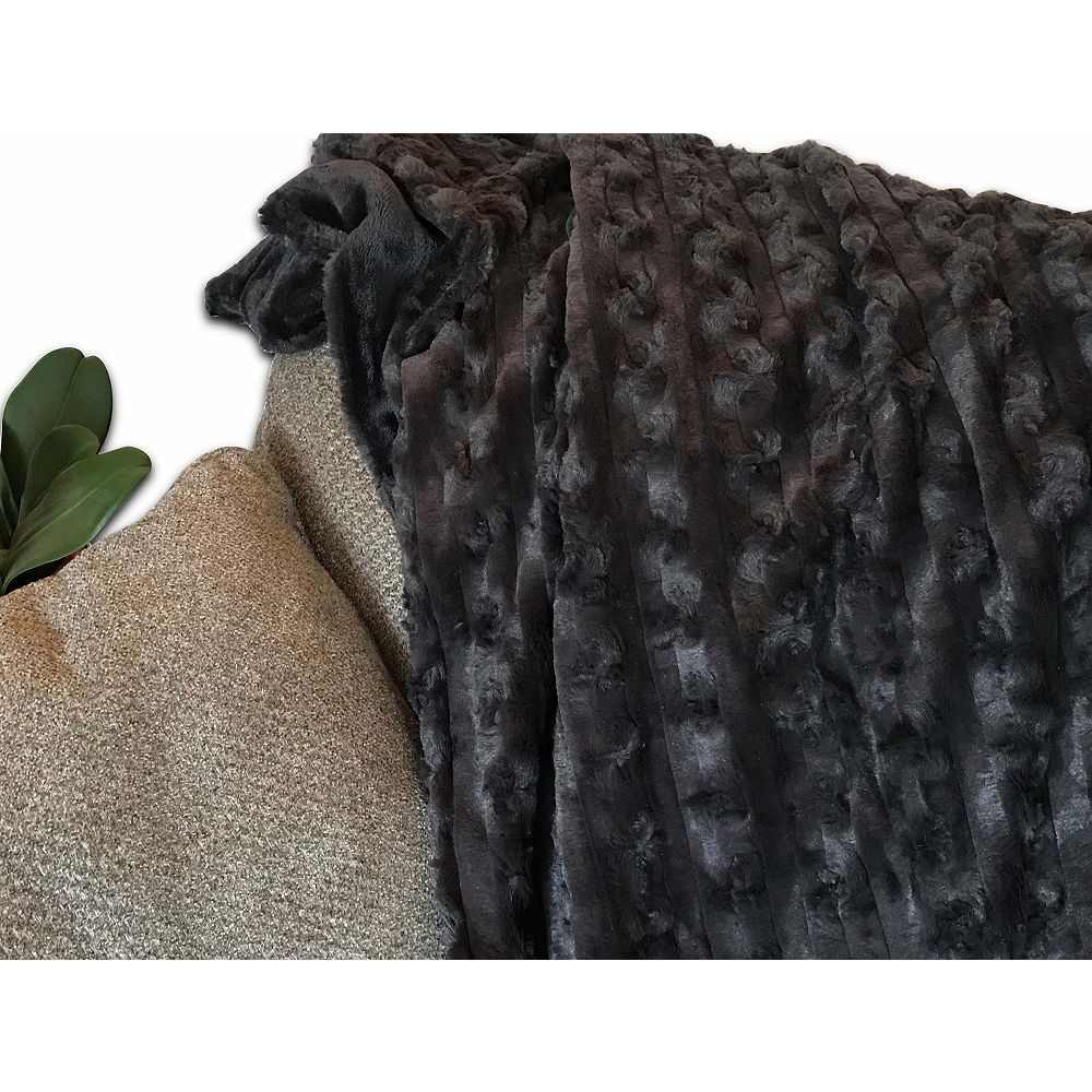 """Long Rich Embossed Faux Fur Reverse with soft Sherpa Throw/blanket, 50""""x60"""""""