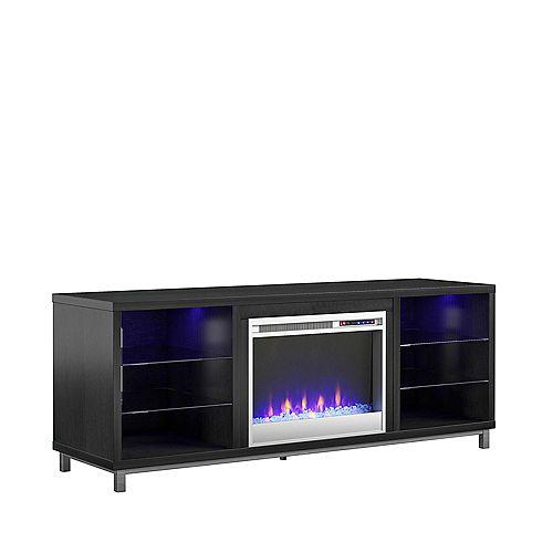"Lumina Fireplace TV Stand for TVs up to 70"", Black Oak"