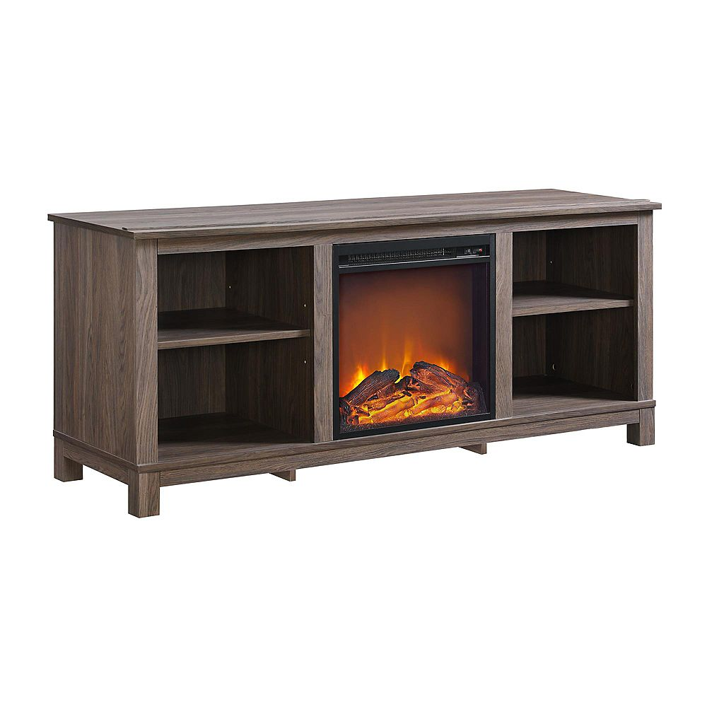 """Dorel Edgewood TV Console with Fireplace for TVs up to 60"""", Medium Brown"""