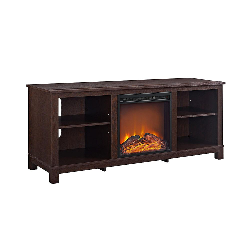 "Dorel Edgewood TV Console with Fireplace for TVs up to 60"", Dark Cherry"
