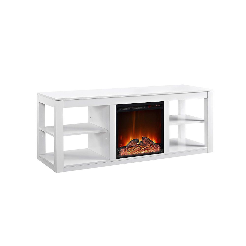 """Dorel Parsons Electric Fireplace TV Stand for TVs up to 65"""", White"""