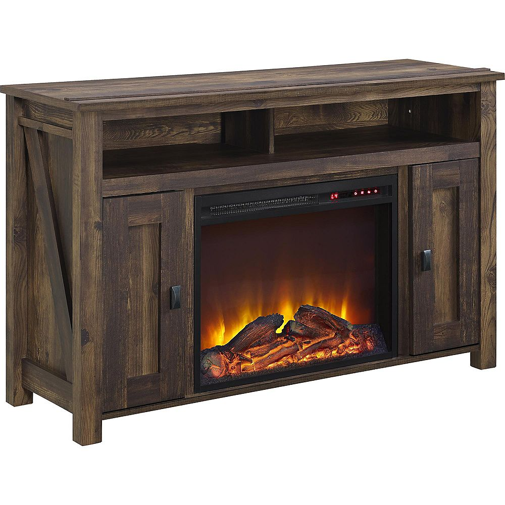"Dorel Farmington Electric Fireplace TV Console for TVs up to 50"", Rustic"