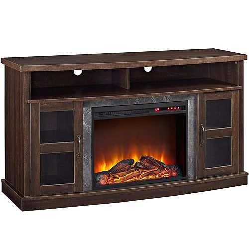 """Dorel Barrow Creek Fireplace Console with Glass Doors for TVs up to 60"""", Espresso"""